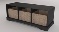 Bench storage with baskets