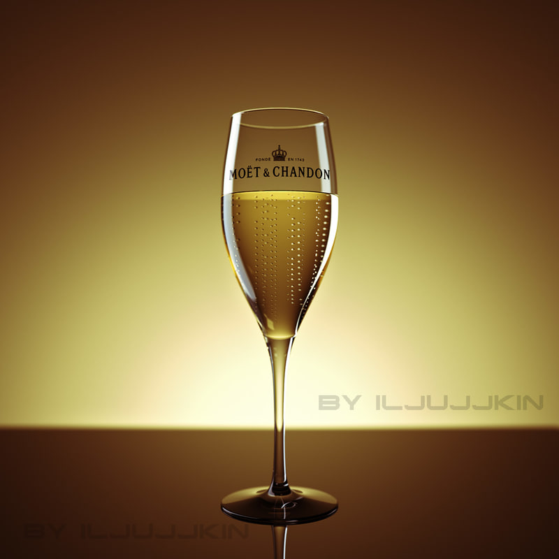 3d glass champagne studio