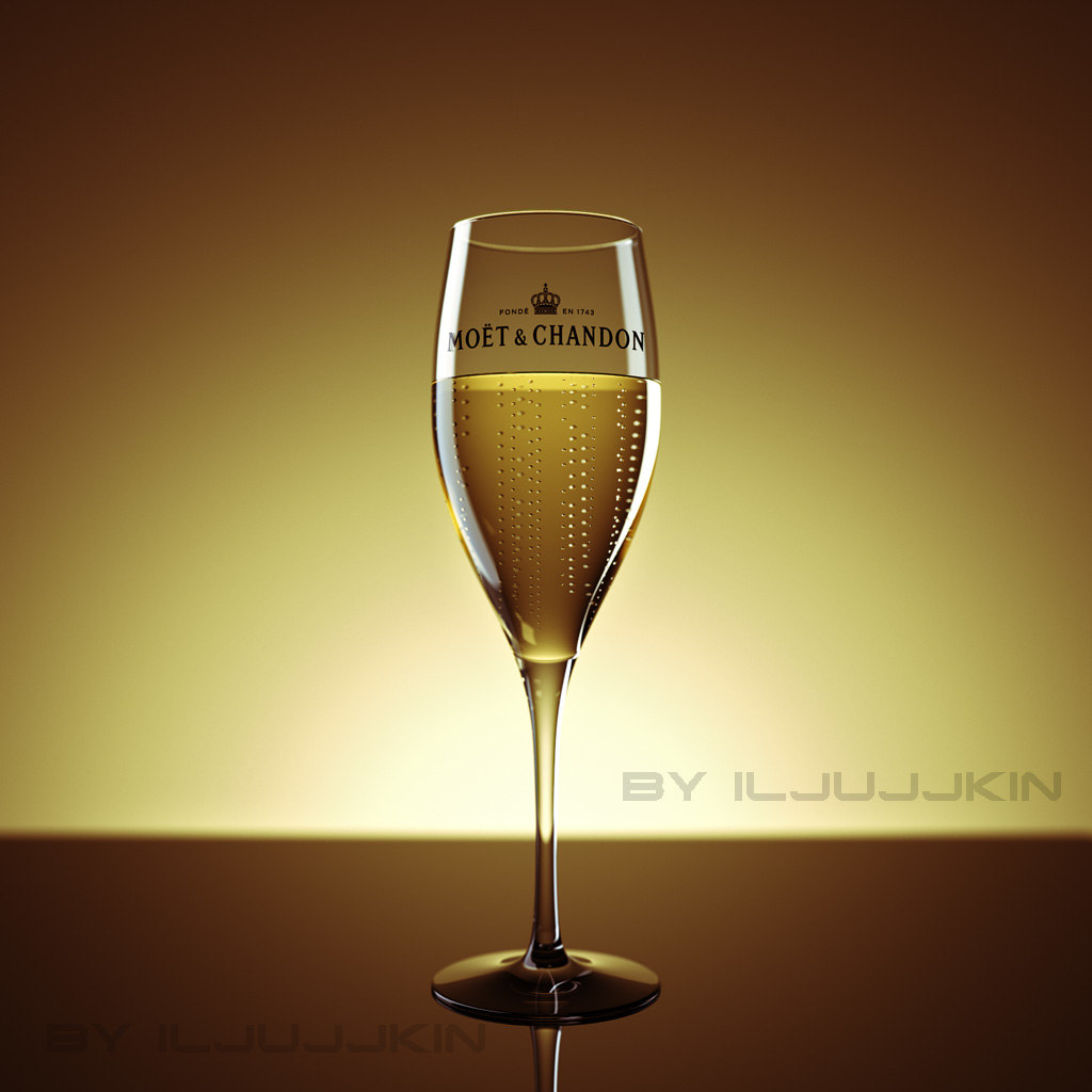 3d glass champagne studio