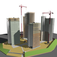 construction cranes buildings 3d 3ds