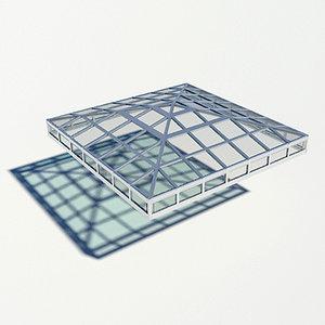 3d model pyramidal broach roof rooflight