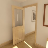3d modern panel glazed door model