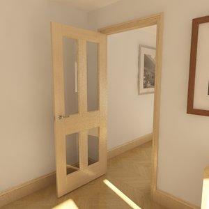 3d model panel glazed door