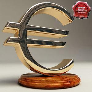 3d model of symbol euro