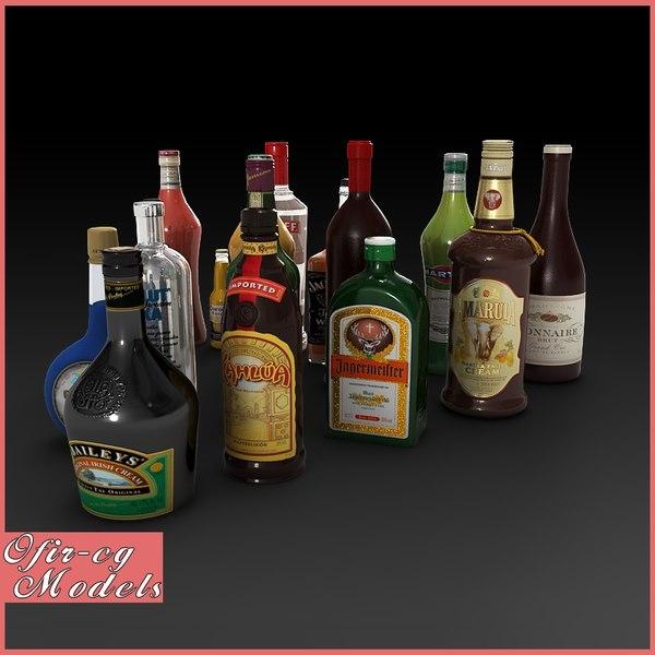 liquer bottles 3d model