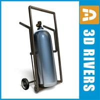 3d model airport gas cylinder cart