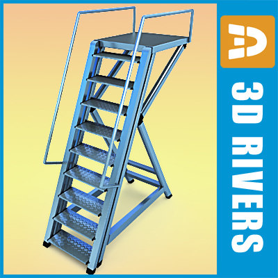 airport stepladder steps 3d obj