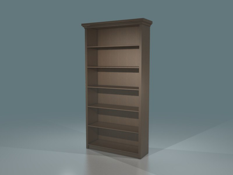 3d obj wood bookcase