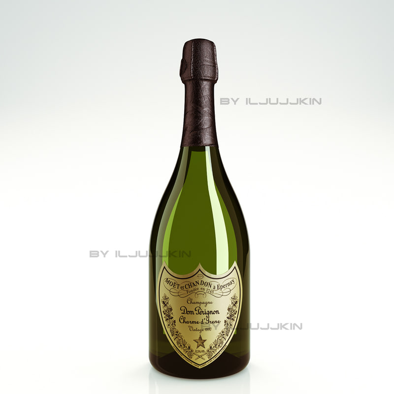 3d model bottle champagne dom perignon