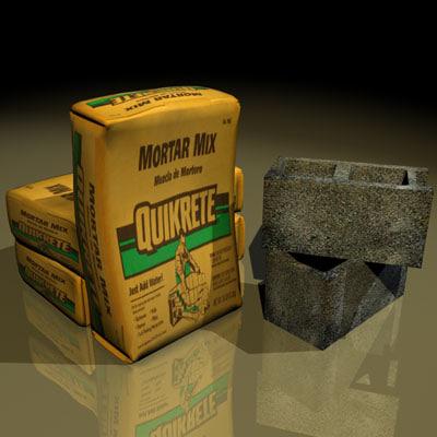 cement sacks 01 3d model