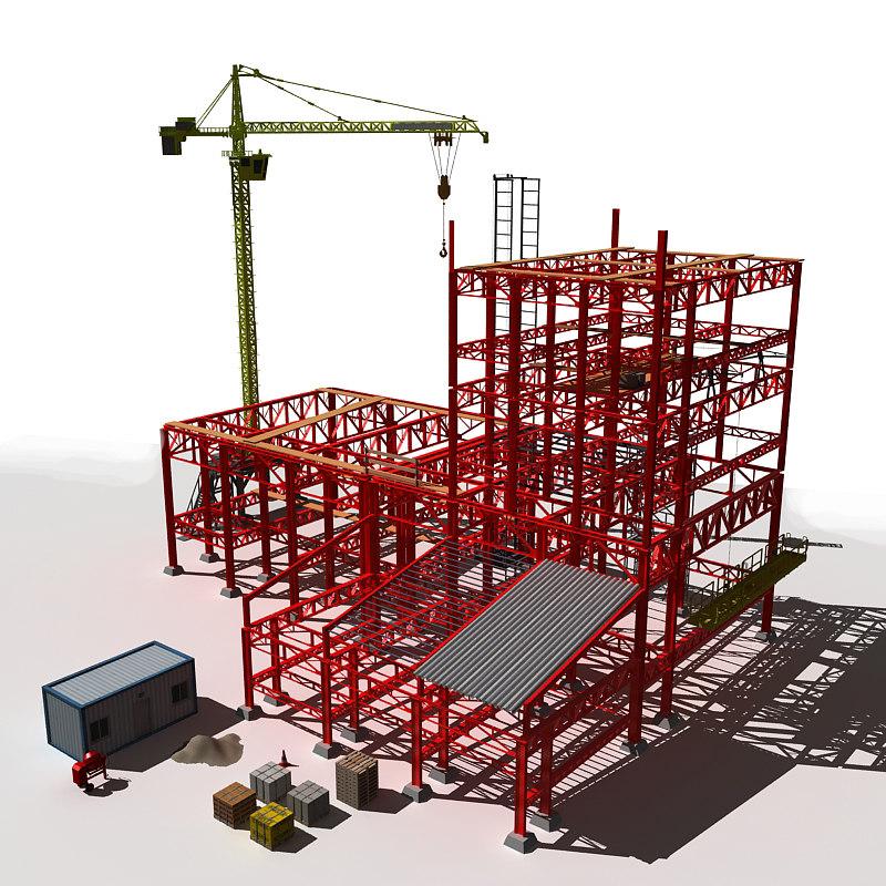 3d construction houses model