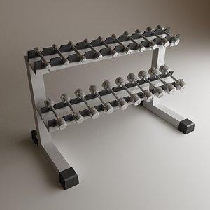 3d model dumbbell rack