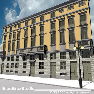 3d european building facade