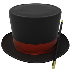 3d model of magic hat magician