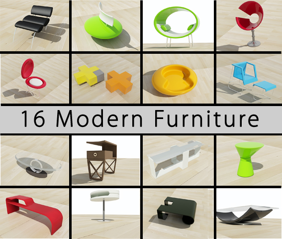 3ds max furniture modern contemporary