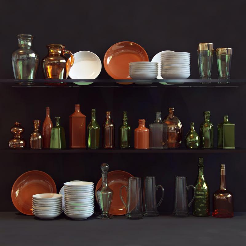 3dsmax bottle plate tableware