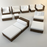 BIG RATTAN GARDEN LOUNGER SET
