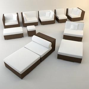 3d design couch lounger set