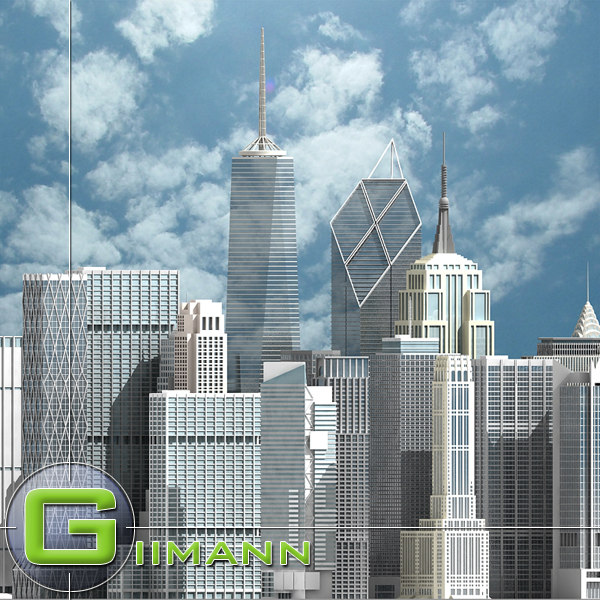 3ds max newyork skyscrapers new york