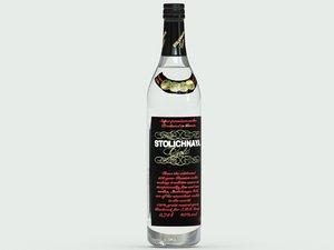 3d model stolichnaya gold vodka bottle