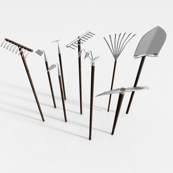 3d garden tools set model