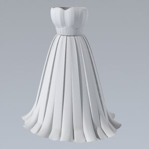 3d dress pleated skirt model