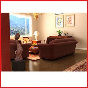 3d model living room mansion