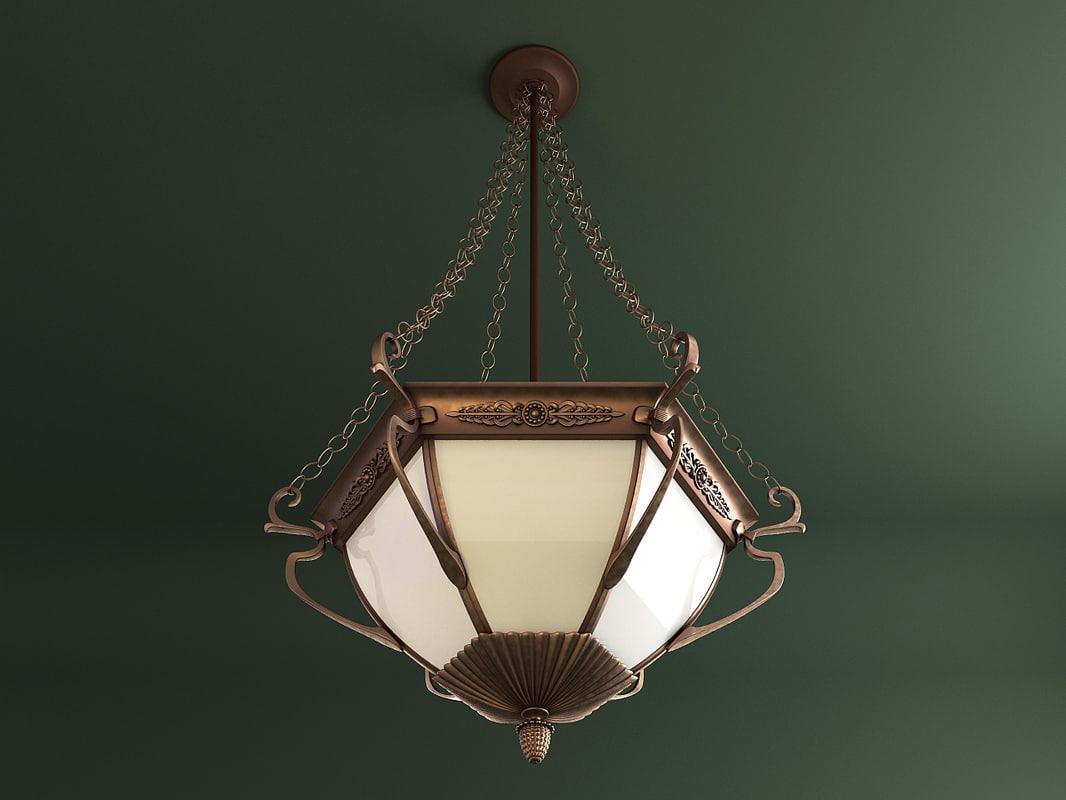 3ds max chandelier copper chains