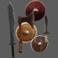 arena weapons shields 3d x