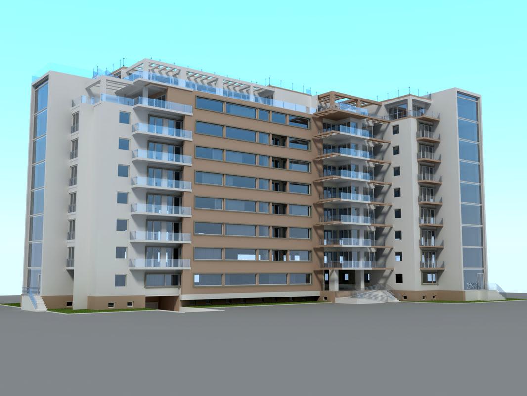 3d model residential building cityscape