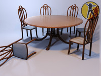 circle table chairs art nouveau 3d model