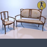 3d max sofa chair art nouveau
