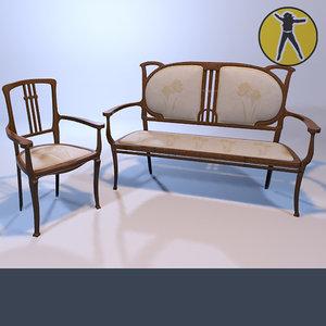 3d max sofa chair art nouveau