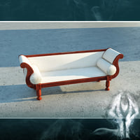 LowPoly white victorian sofa