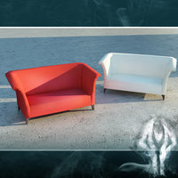 LowPoly red sofa