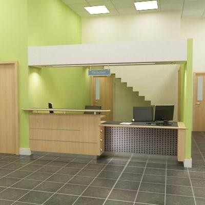 3ds max modern office reception scene