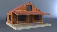 wooden garden house 3d model