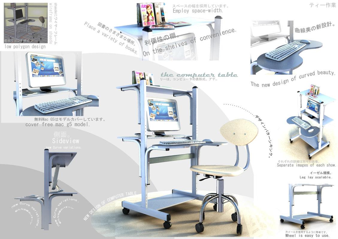 3d table versatile japanes style model