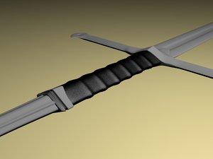 anduril aragorns sword 3d model