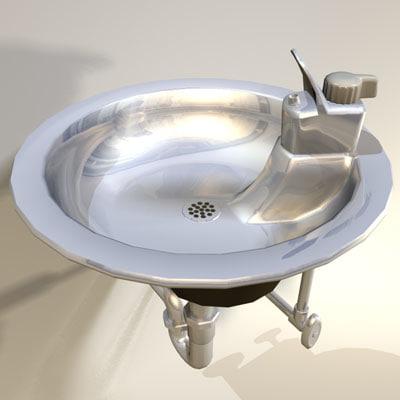 3d water fountain retro 02 model