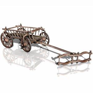 3d rustic bull wagon model