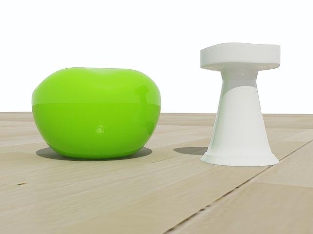 drop stool mushroom 3d model
