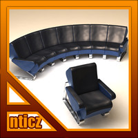 bench airports 3d model