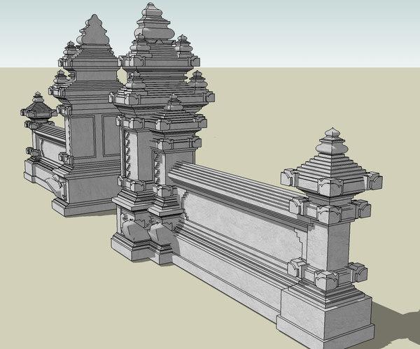 3d balinese gate