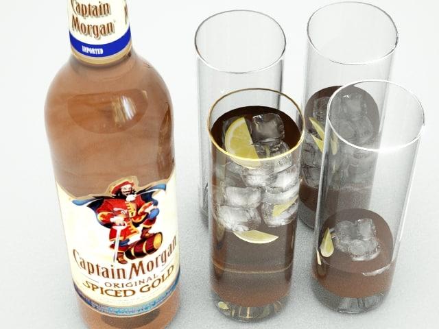 3d bottle spiced rum glasses model