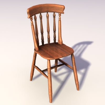 pine dining chair 3d model