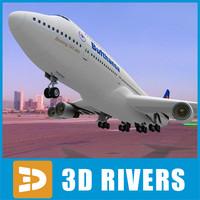 b-747 lufthansa look 3d 3ds