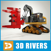 3d model feller buncher industrial vehicles