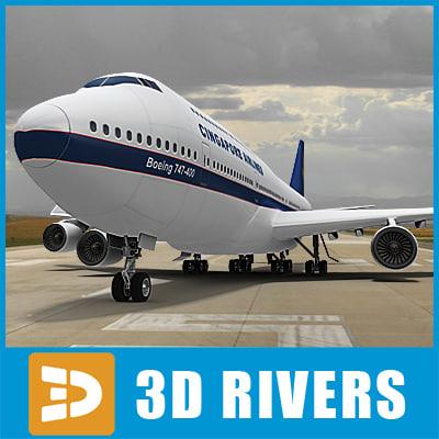 3d b-747 singapore airlines plane model