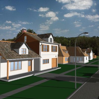 3d neighborhood 2 houses model